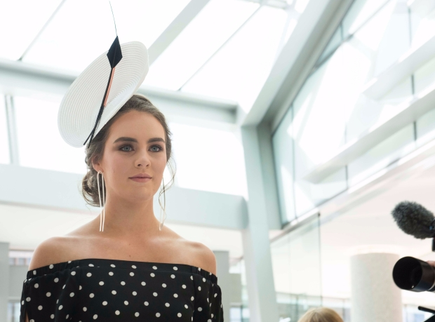 A striking black & white Melbourne Cup Hat